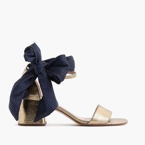 New JCREW Penny Ankle Strap Sandals Gold Metallic
